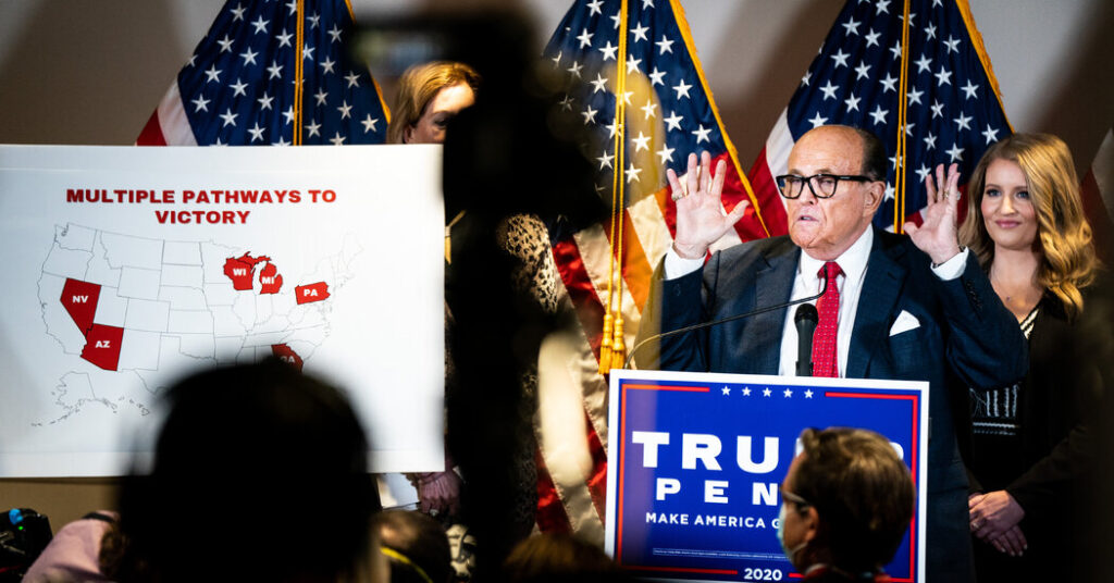 Giuliani makes accusations of fraud that the Trump team has failed to support in court.