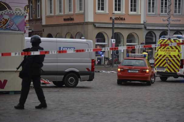 Car plows through pedestrian street in German city of Trier, at least 4 dead