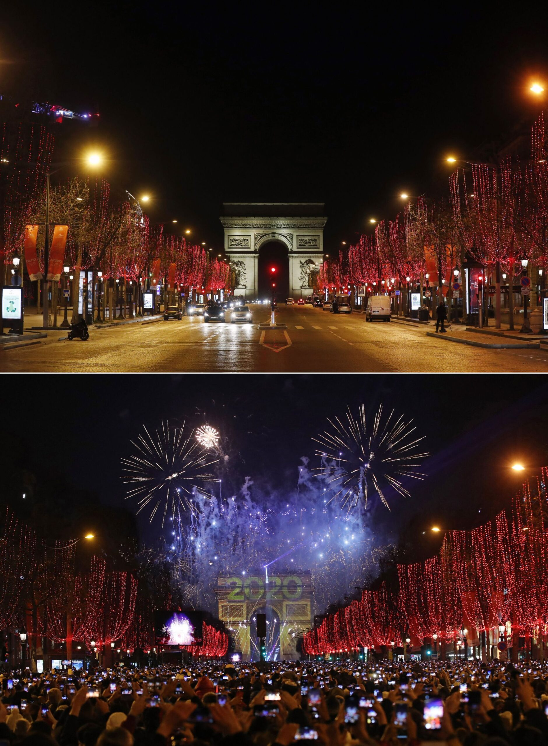 AP PHOTOS: Then-and-now images show New Year's Eve contrast