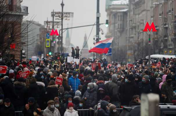 Protesters across Russia hold marches for jailed opposition leader Navalny