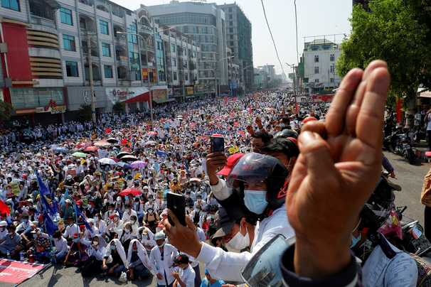 Myanmar grinds to a halt as hundreds of thousands strike against military coup