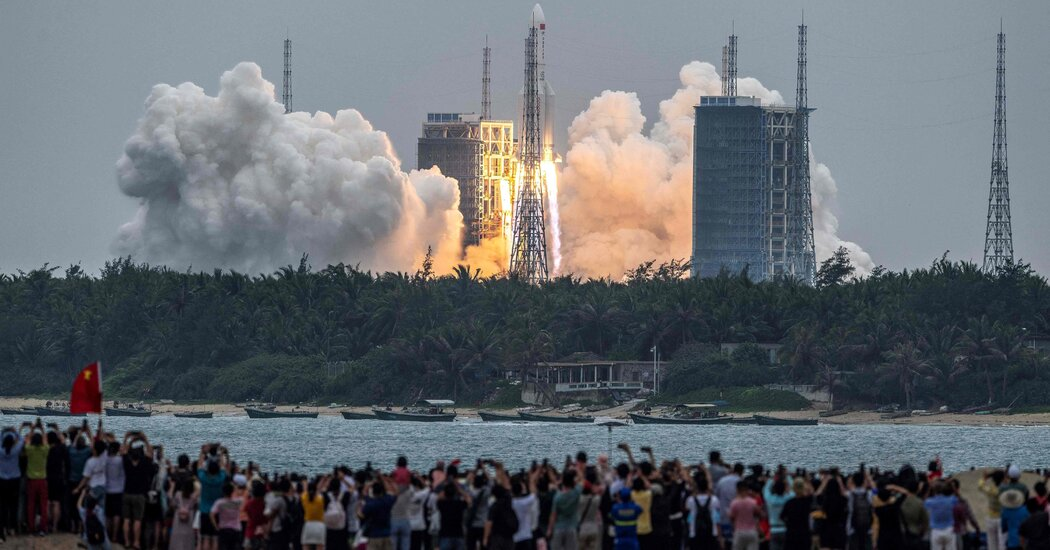 Long March 5B, a Chinese Rocket, Expected to Tumble Back to Earth
