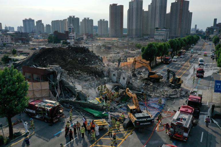 Nine dead after bus crushed in South Korea building collapse