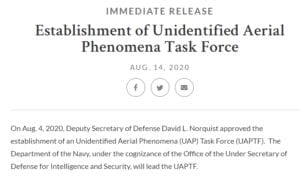 UAP Task Force Initiated Contact with NASA To Brief Them on UFOs; But They Won't Say Why – The Black Vault